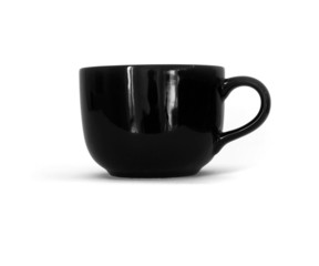 black ceramic cup on white background