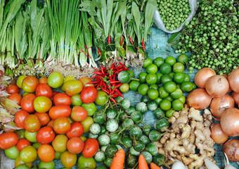 Various fresh vegetables in Asian traditional street market