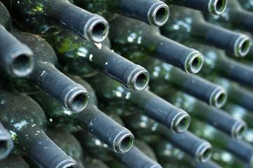 Necks of wine bottles