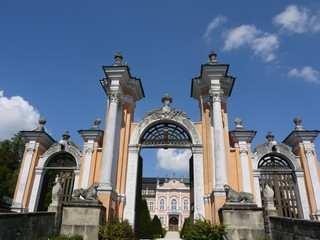 Entrance gate to the rococo castle Nove Hrady, Czech Republic
