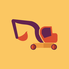 Excavator. Transportation Flat Icon