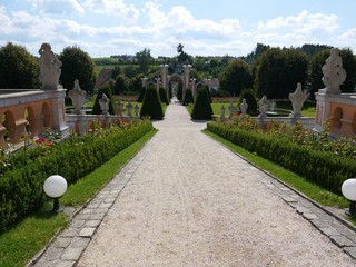 View down to castle courtyard with castle garden and gate