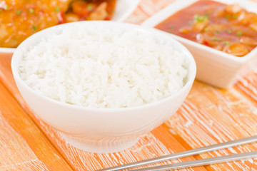 Chinese Steamed Rice with Sweet & Sour Chicken