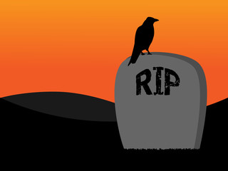 Raven on grave silhouette