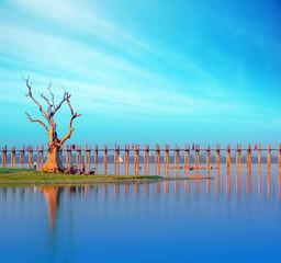 Burma Myanmar U Bein teak bridge. Mandalay travel destination
