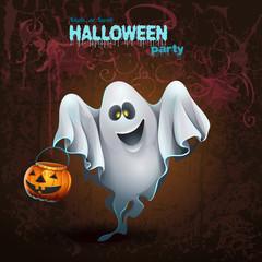 Halloween card with a cute ghostr