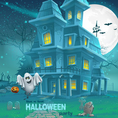 haunted house for Halloween for a party with ghosts