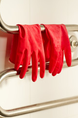 Red plastic gloves