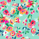 Pretty painted flowers ~ seamless background poster