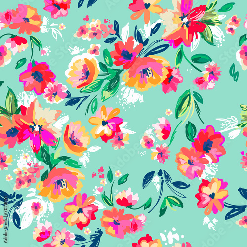 Cotton fabric Pretty painted flowers ~ seamless background