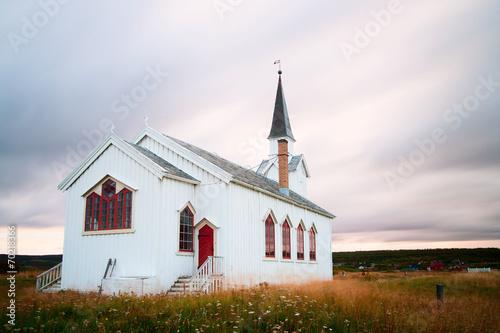 canvas print picture Kirche Nesseby in Norwegen