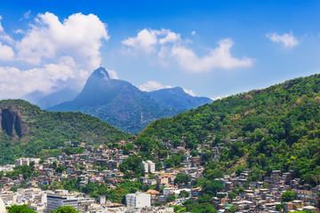 view of Corcovado, favela near Copacabana in Rio de Janeiro