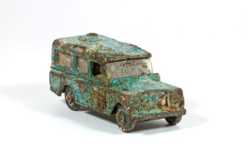 Old Blue Toy Car Uncovered After Years of Being Buried
