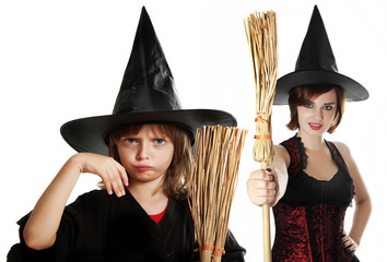 halloween witches on white background