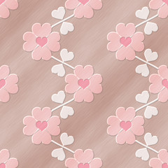 Heart flower seamless relief painting on generated metal texture