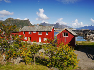 Typical red rorbu fishing hut on Lofoten islands