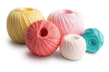 Colorful cotton yarn isolated on white background