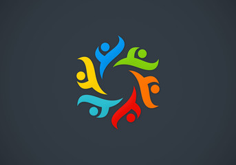 circular people teamwork multicolor logo