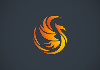 phoenix bird abstract vector logo