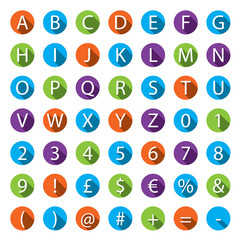 Flat A-Z Alphabet Icon Set with long shadows