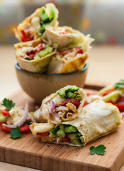 shawarma   with chicken and vegetables