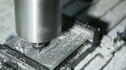 Mill Cutting Aluminum: close-up shot.