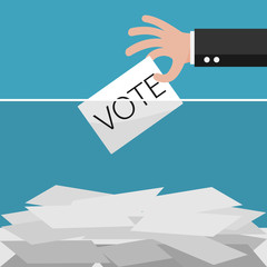 Vote, Hand holding ballot in Ballot boxes. Vector illustration.