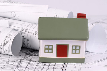 Projects of houses with model of a house