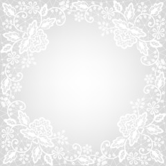 white lace on gray background
