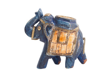 ceramic elephant sculpture isolated on white background