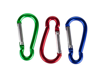 three carabiners isolated on white background