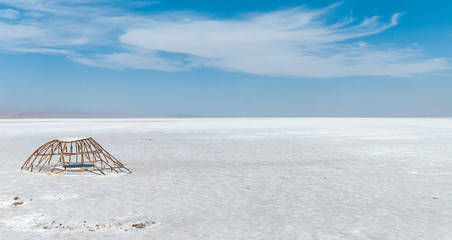 Metal ruin on the salt lake