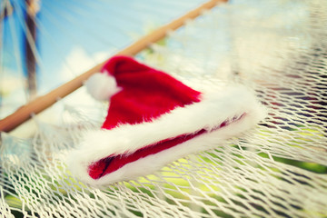picture of hammock with santa helper hat