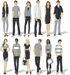 Group of fashion cartoon young business people.