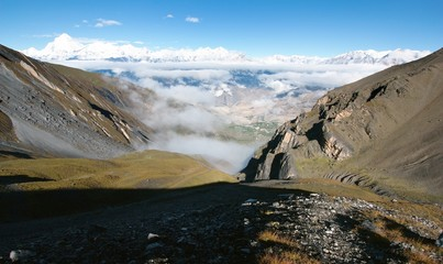 view from thorung la pass annapurna himal to dhaulagiri