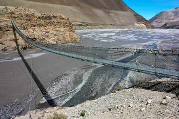 rope hanging suspension bridge above Kali Gandaki