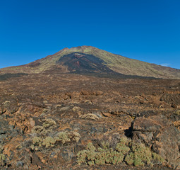 view of volcano crater and lava field