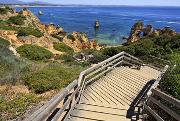 Famous Camilo Beach in Lagos, Algarve. Portugal