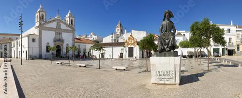 Leinwandbild Motiv A public square in Lagos, Algarve, Portugal