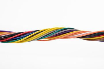Multicolored computer cable closeup