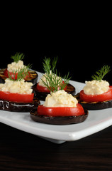 appetizer of eggplant with tomato