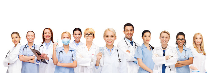 smiling doctors and nurses with stethoscope