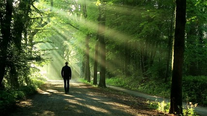 Man walking in lane toward the sunlight.