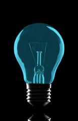 Color light bulb on black background