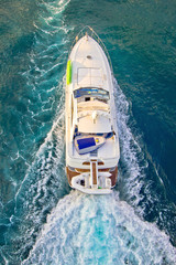 Yacht on the sea aerial view