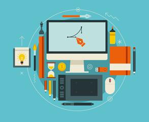 Flat design vector illustration of modern creative workspace
