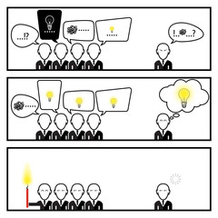 Speech Bubble Communication With Businessman In Three Box Story