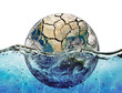 Dried up planet immersed in the waters of world ocean
