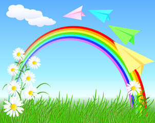Colorful paper airplane and rainbow