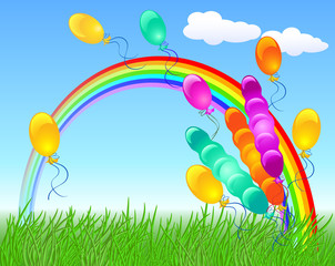 Colorful balloons and rainbow